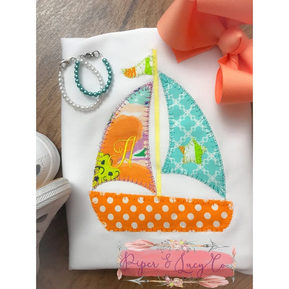 Sail Boat Blanket Stitch Applique Design, Applique