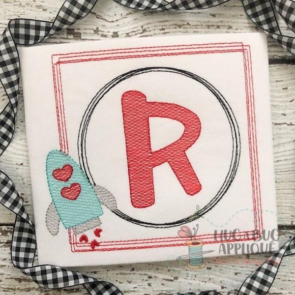 Rocket Hearts Sketch Scribble Frame Embroidery Design, Embroidery