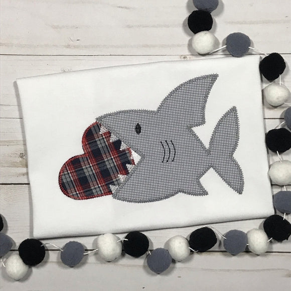 Shark Heart Zig Zag Stitch Applique Design, Applique