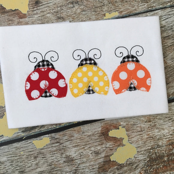 Ladybug Trio Blanket Stitch Applique Design, Applique