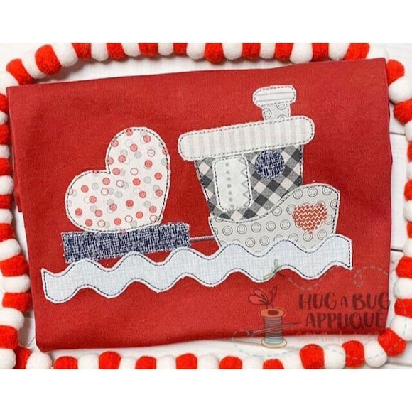 Tug Boat Heart Bean Stitch Applique Design, Applique