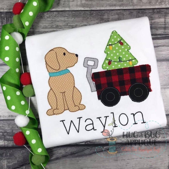 Pup Wagon Tree Bean Stitch Applique Design, Applique