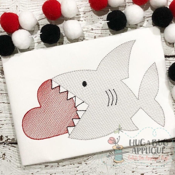Shark Heart Sketch Embroidery Design, Embroidery