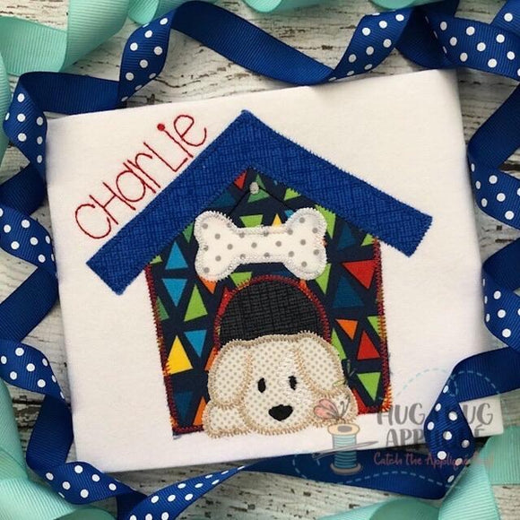 Dog House Zig Zag Stitch Applique Design, Applique