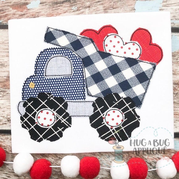 Dump Truck Hearts Bean Stitch Applique Design, Applique