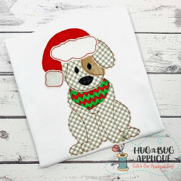 Dog Santa Hat Bean Stitch Applique Design, Applique