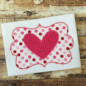 Heart Frame Zig Zag Stitch Applique Design, Applique