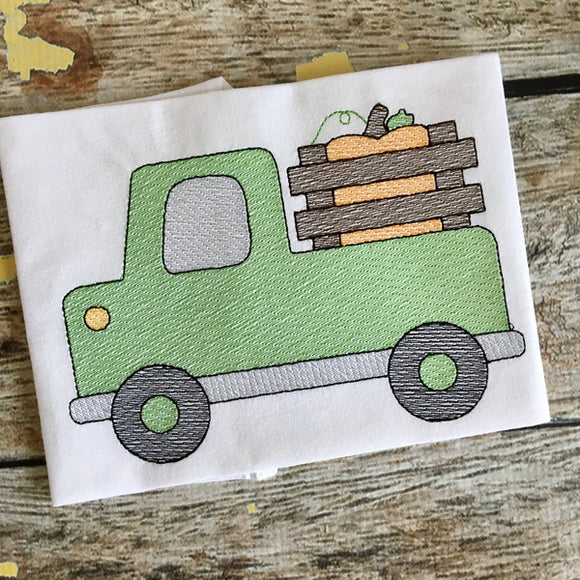 Cute Truck Pumpkin Sketch Embroidery Design, Embroidery