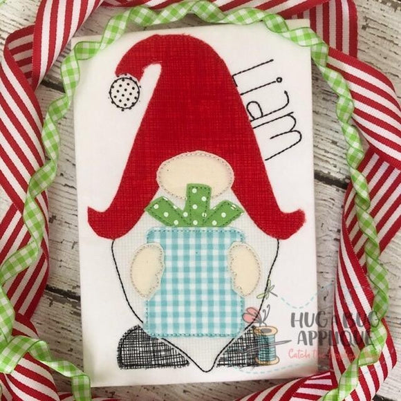 Gnome Gift Bean Stitch Applique Design, Applique