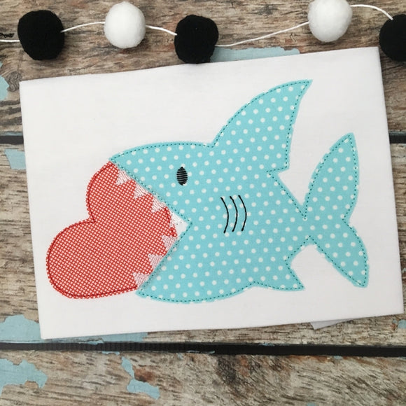 Shark Heart Bean Stitch Applique Design, Applique