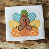 Turkey Girl Pumpkins Zig Zag Applique Design, Applique