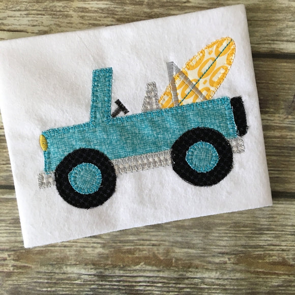 Jeep Surf Board Blanket Stitch Applique Design, Applique