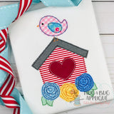 Birdhouse Flowers Bean Stitch Applique Design, Digital Download