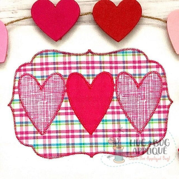 Heart Trio Frame Zig Zag Stitch Applique Design, Applique