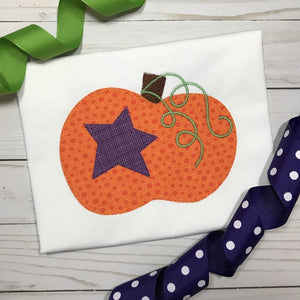Pumpkin Star Blanket Stitch Applique Design, Applique