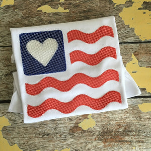 Flag Heart Wave Blanket Stitch Applique Design, Applique
