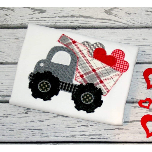 Dump Truck Hearts Zig Zag Stitch Applique Design, Applique