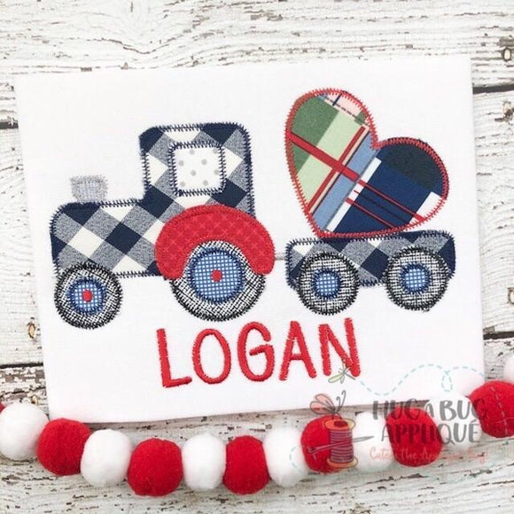 Tractor Heart Zig Zag Stitch Applique Design, Applique