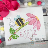 Bee Flower Bean Stitch Applique Design, Digital Download