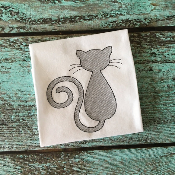 Cat Sketch Stitch Embroidery Design, Embroidery