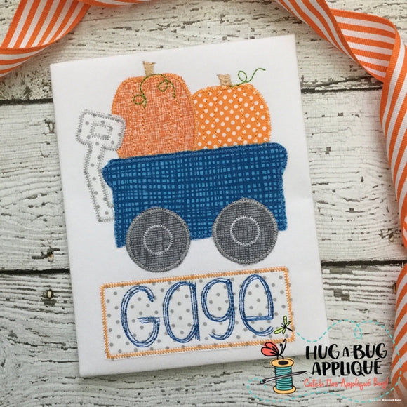 Wagon Pumpkins Zig Zag Stitch Applique Design, Applique