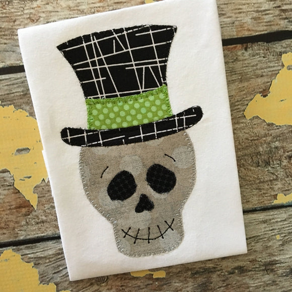 Skeleton Hat Blanket Stitch Applique Design, Applique