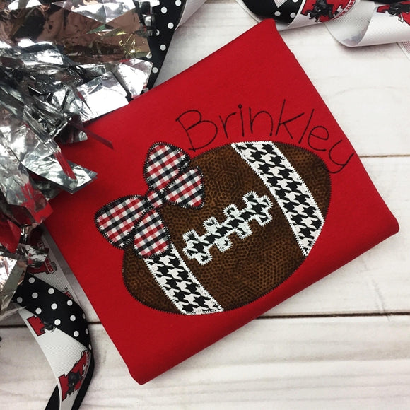 Football Bow Zig Zag Stitch Applique Design, Applique