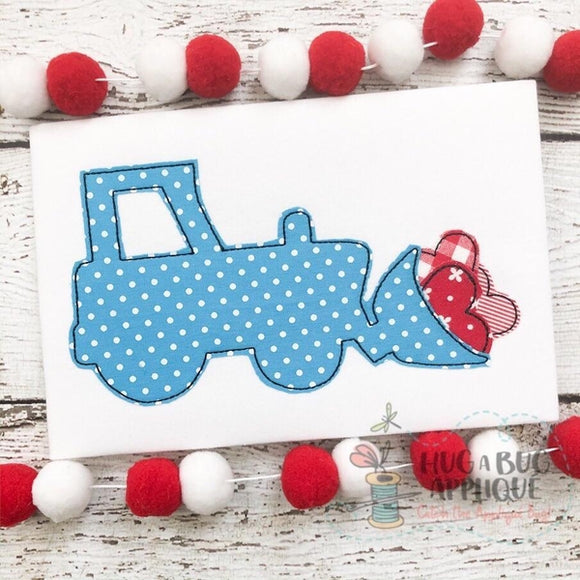 Tractor Hearts Bean Stitch Applique Design, Applique