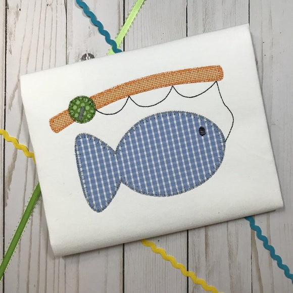 Fishing Pole Fish Blanket Stitch Applique Design, Applique
