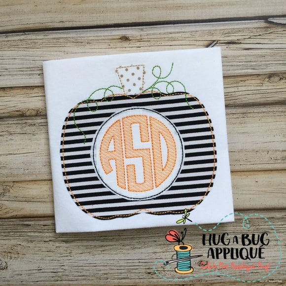 Pumpkin Monogram Bean Stitch Applique Design, Applique