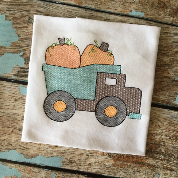 Dump Truck Pumpkins Sketch Embroidery Design, Embroidery