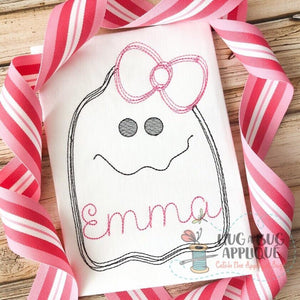Girl Ghost Scribble Stitch Embroidery Design, embroidery