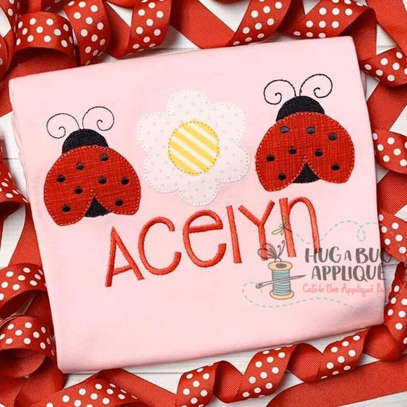 Ladybug Flower Trio Bean Stitch Applique Design, Digital Download
