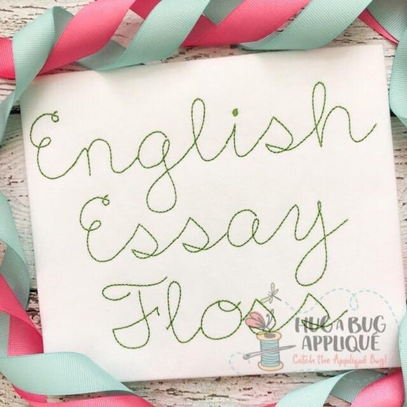 English Essay Floss Stitch Embroidery Font, Embroidery Font