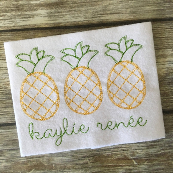 Pineapple Trio Scribble Stitch Embroidery Design, Embroidery