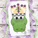 Alligator Crown Bean Stitch Applique Design, Applique