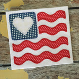 Flag Heart Wave Zig Zag Stitch Applique Design, Applique