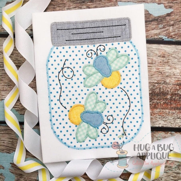 Lightning Bug Jar Zig Zag Stitch Applique Design, Applique
