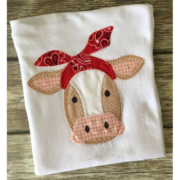 Cow Bandana Blanket Stitch Applique Design, Applique