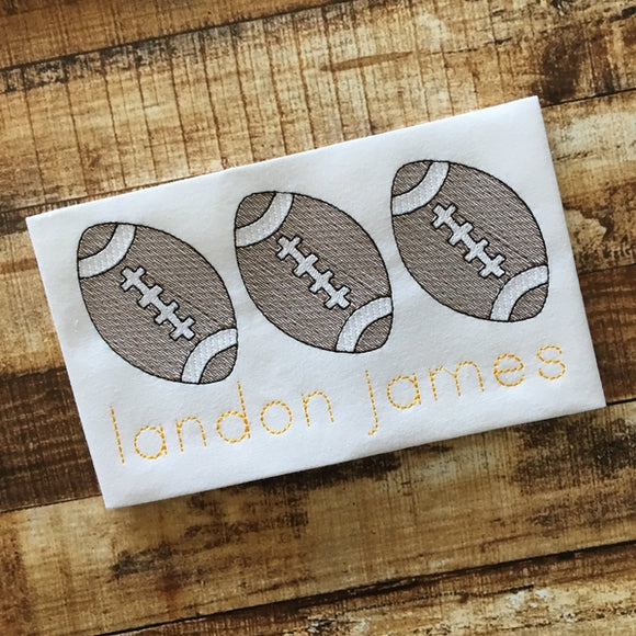 Football Trio Sketch Embroidery Design, Embroidery