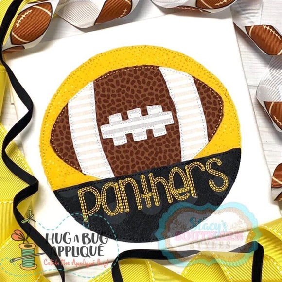 Football Split Circle Bean Stitch Design, Applique