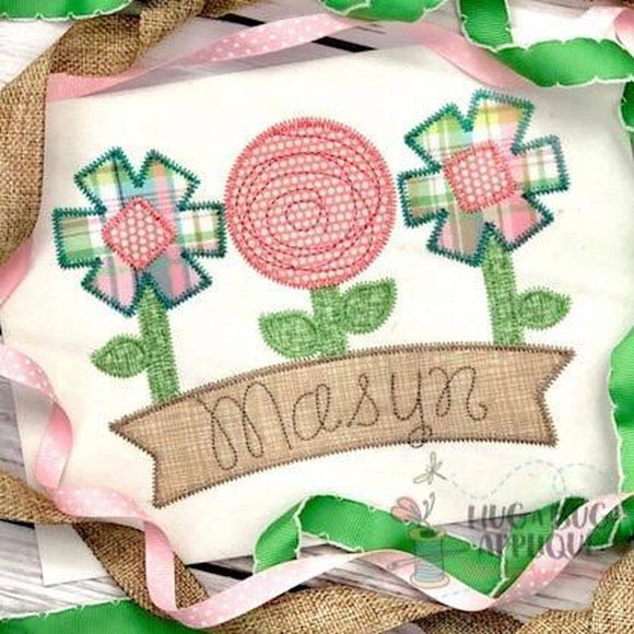 Flowers Banner Zig Zag Stitch Applique Design, Applique