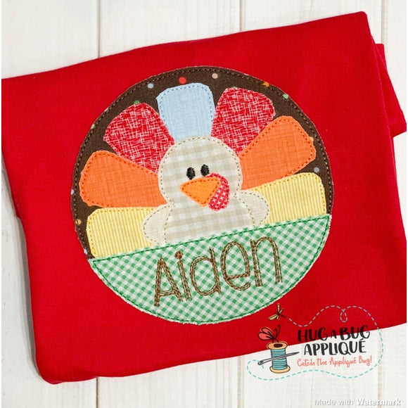 Turkey Split Circle Bean Stitch Applique Design, Applique