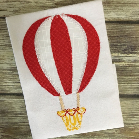 Hot Air Balloon Blanket Stitch Applique Design, Applique