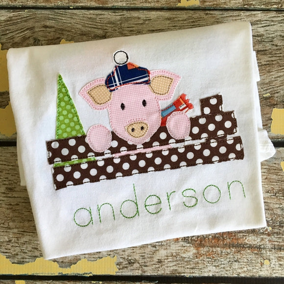 Christmas Pig Bean Stitch Applique Design, Applique