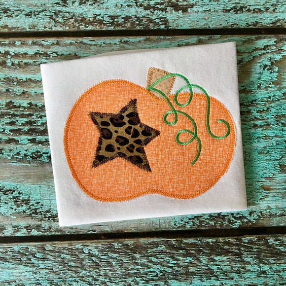 Pumpkin Star Zig Zag Stitch Applique Design, Applique