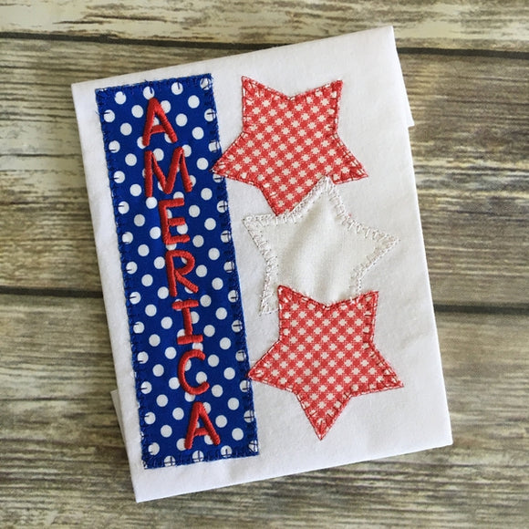 America Stars Blanket Stitch Applique Design, Applique