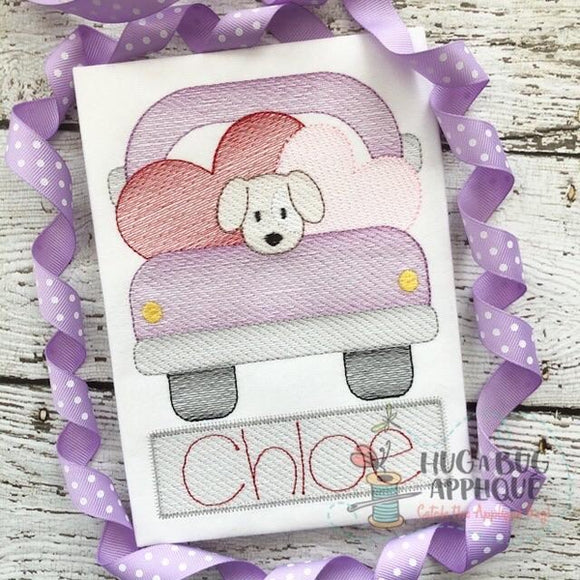 Truck Hearts Pup Sketch Stitch Embroidery Design, Embroidery