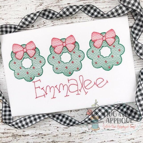 Wreath Trio Sketch Stitch Embroidery Design, Embroidery