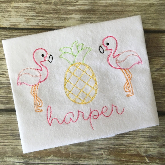 Flamingo Pineapple Trio Scribble Stitch Embroidery Design, Embroidery